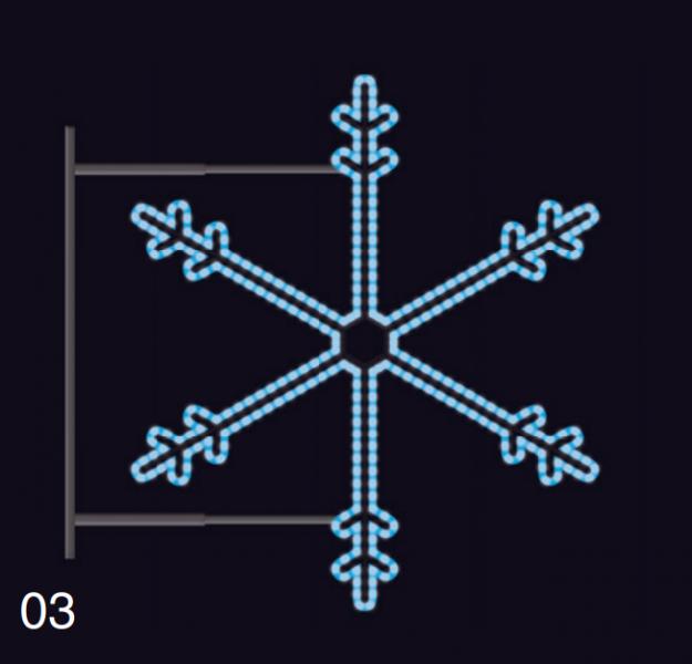SNĚHOVÁ VLOČKA s konzolí 75x75cm modrá
