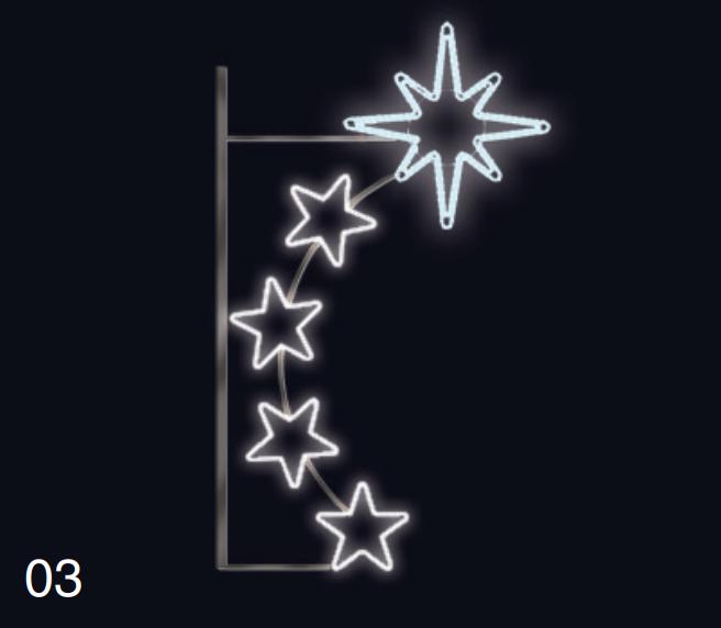 PŮLMĚSÍC S HVĚZDICÍ 0,75x1,35m studená bílá