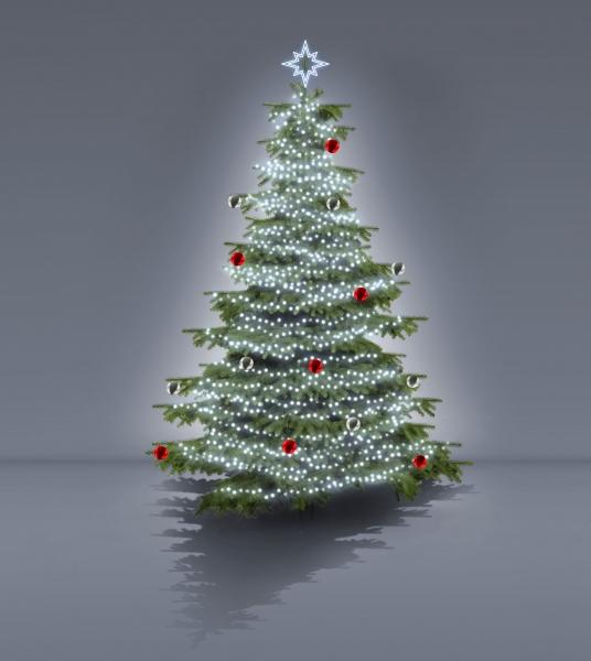 LED řetězy studené bílé, zlaté a červené koule, 2D LED hvězda na špičce