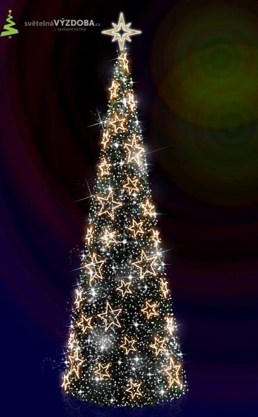 umělý Vánoční strom s LEDhvězdičkami, LED řetězy a hvězdou na špičce stromu