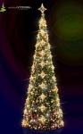 Umělý Vánoční strom od 7 do 13m s LED výzdobou, hvězdičkami a koulemi