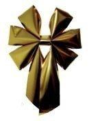 Vánoční mašle trojitá zlatá
