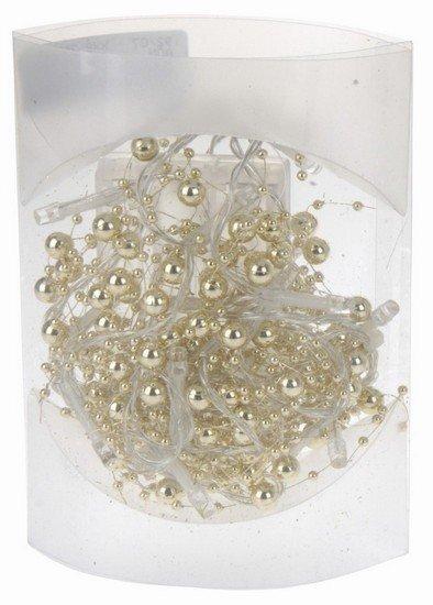 Vánoční LED řetěz na baterie s perličkami - zlaté, 20 LED/1,3m