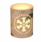 Vánoční LED svíčka s motivem vločky - 7,5x7,5x10cm