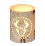 Vánoční LED svíčka s motivem soba - 7,5x7,5x15cm