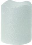 Vánoční LED svíčka - třpytivě bílá 5x6,5cm