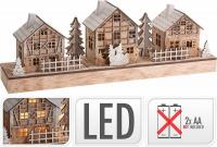 Vánoční dřevěná vesnice - svítící 3 domky + sněhulák