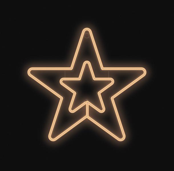Hvězda DOUBLE svítící - teplá bílá