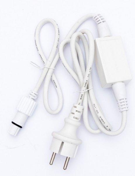 Napájecí kabel s usměrňovačem venkovní bílý 1,5m