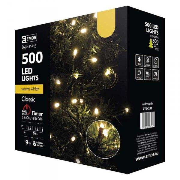 LED vánoční řetěz, 50m, teplá bílá, časovač