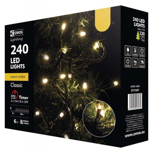LED vánoční řetěz, 24m, teplá bílá,