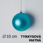 Vánoční koule tyrkysová matná 10cm