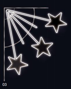 Padající hvězdy - studená bílá 1,10x1,25m