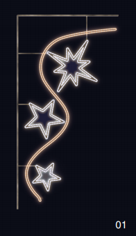Oblouk hvězd - teplá/studená bílá 0,85x1,75m