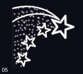 Letící hvězdy - studená bílá 1,30x1,30m