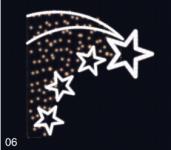 Letící hvězdy - studená bílá/teplá bílá 1,30x1,30m